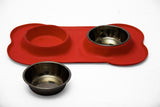 Rex - Non-Slip S/S Double Pet Bowl - Red (Free Shipping)