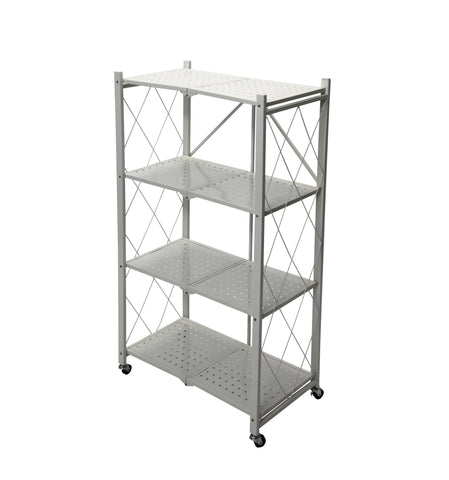 Fine Living Foldable Storage Rack-White Metal 4 La (Free Shipping)