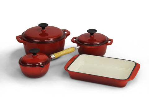 Fine Living - Lifestyle Cast Iron Set 7pc - Red (Free Shipping)