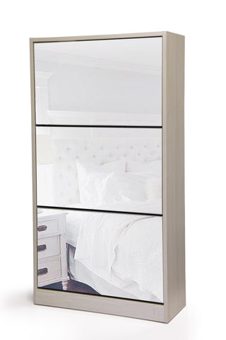 Fine Living Mirror Shoe Cabinet - 3 Tier - Grey/White (Free Shipping)
