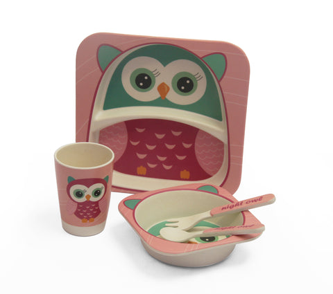 Kids 5pcs bamboo dinning set - Big Owl (Free Shipping)