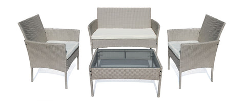 Lifestyle Outdoor Rattan 4pc Set - L.Grey, Cream Cushions (Free Shipping)