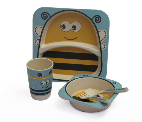Kids 5pcs bamboo dinning set - Bee Blue (Free Shipping)