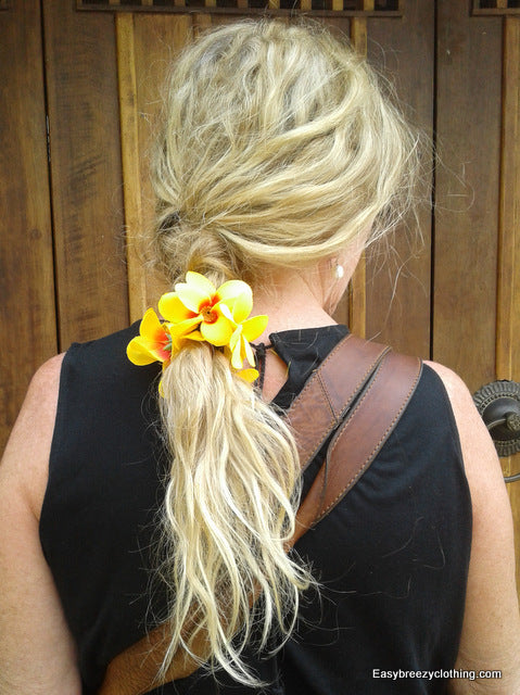 Flowered Ponytail Holder,Silk Hair Flowers,[Easy Breezy Clothing].