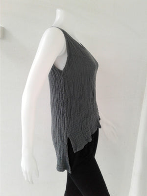 V Neck Sleeveless Top,Double Gauze Tops,[Easy Breezy Clothing]