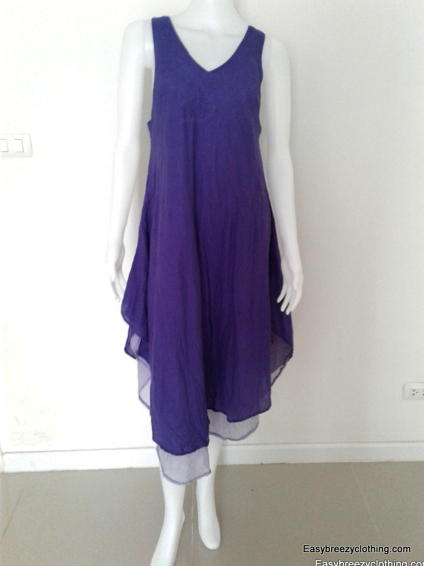 Sleeveless Midi Dress Cut on the Bias,Cotton Dresses,[Easy Breezy Clothing]