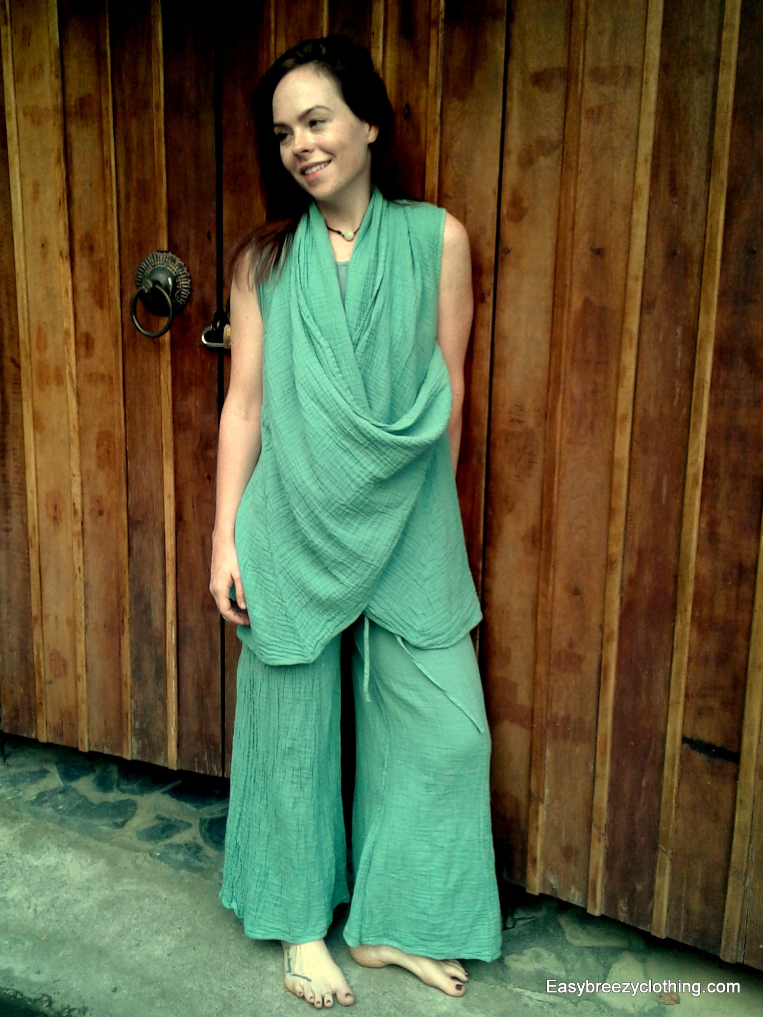 Long Wrap Vest,Double Gauze Tops,[Easy Breezy Clothing]