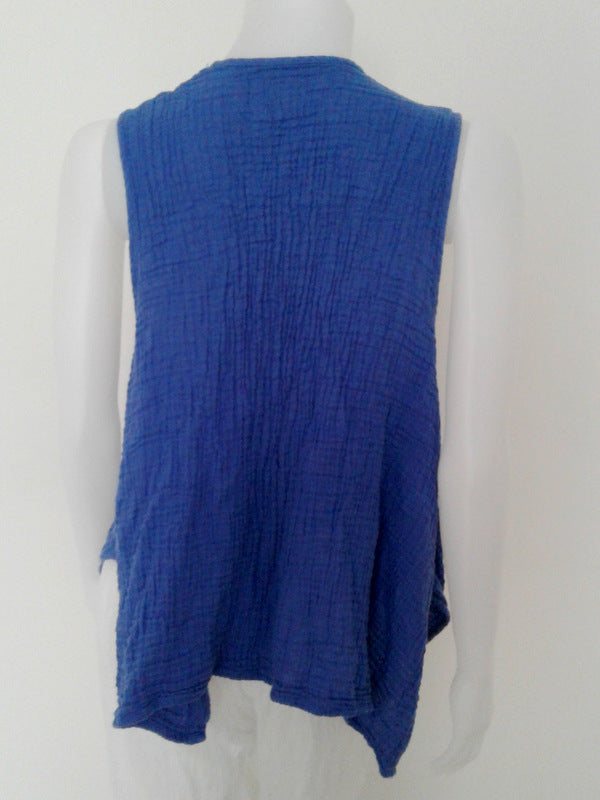 Vest with Pockets,Double Gauze Tops,[Easy Breezy Clothing]