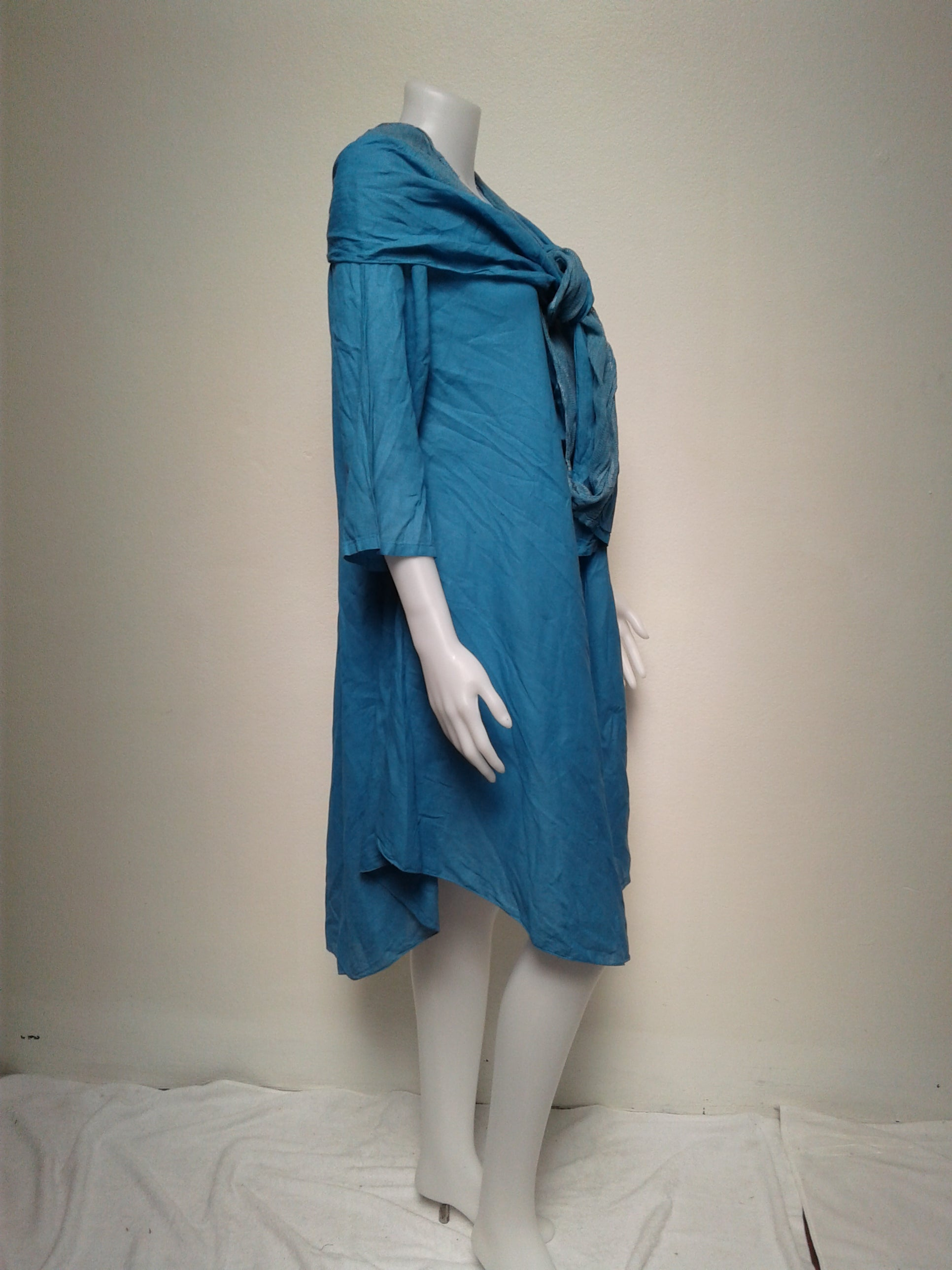 Midi Dress with Sleeves and Detachable Scarf,Cotton Dresses,[Easy Breezy Clothing]