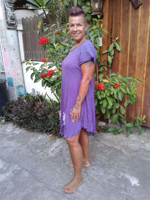 Bias Cut Dress with Short Sleeves,Cotton Dresses,[Easy Breezy Clothing]