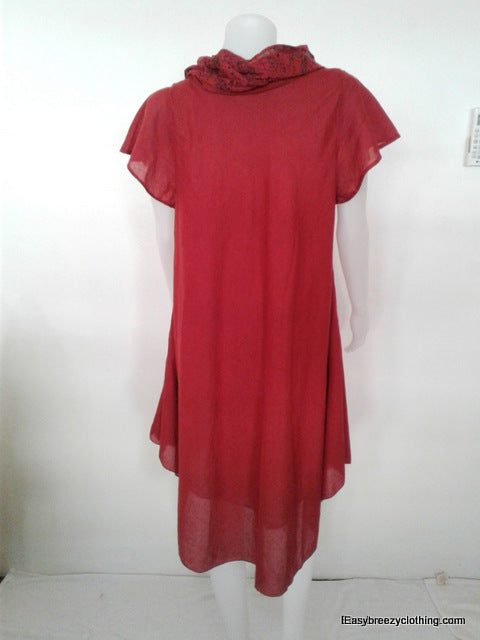 Cap Sleeve Tea Dress with Detachable Scarf,Cotton Dresses,[Easy Breezy Clothing]