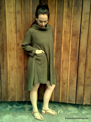 Turtle Neck Dress with Front Pocket,Double Gauze Dresses,[Easy Breezy Clothing]