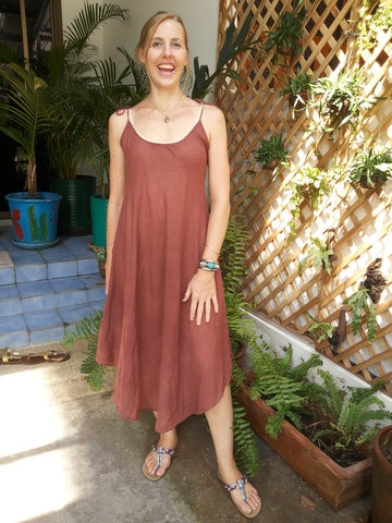 Casual Sleeveless Maxi Dress Cut on The Bias,Cotton Dresses,[Easy Breezy Clothing]