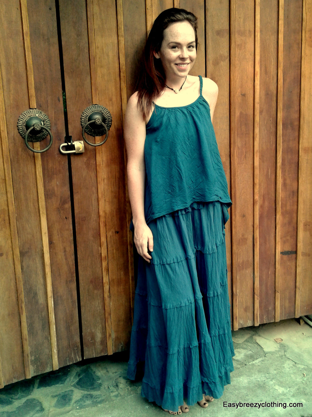 Maxi Flounce Skirt,Cotton Pants and Skirts,[Easy Breezy Clothing]