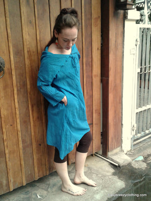 Casual Summer Dress with Wide Collar,Cotton Dresses,[Easy Breezy Clothing]