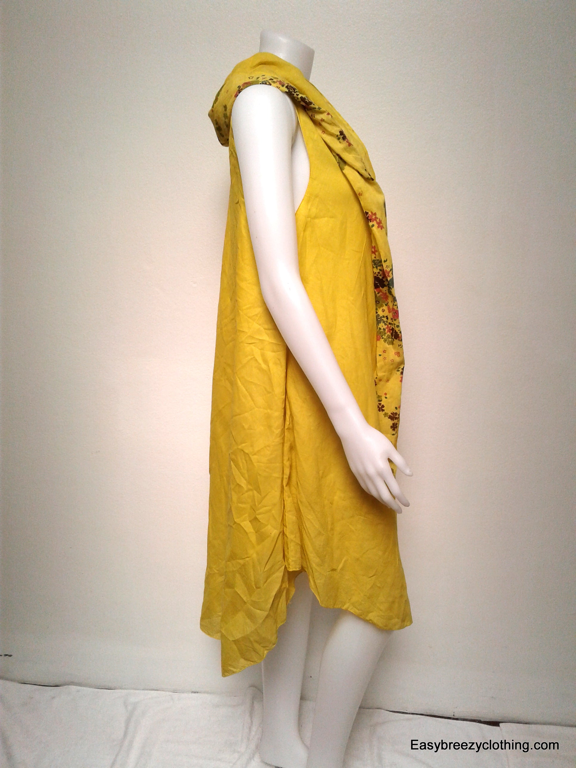 Sleeveless Bias Cut Dress with Scarf,Cotton Dresses,[Easy Breezy Clothing]