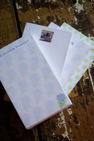 Let your writing shine with personalized notepad printing. Jot down notes, letters, and lists!