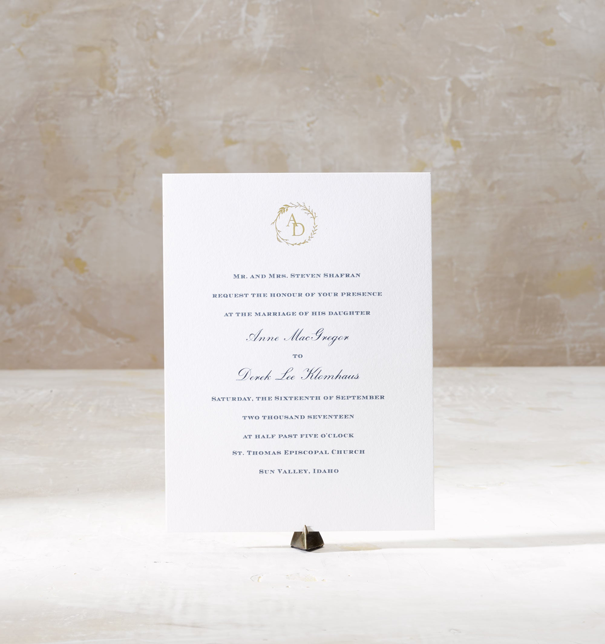 Anne & Derek is an engraved & foil stamped suite in navy and gold, set in Sun Valley Indiana. Call us toll-free at 1-800-995-1549 or email us at hello@pickettspress.com