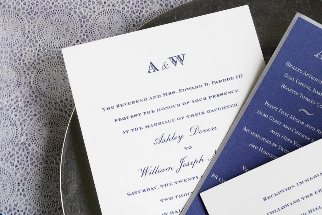 Ashley and Liam is an engraved wedding suite set in Greenwich, Connecticut. Call us toll-free at 1-800-995-1549 or email us at hello@pickettspress.com