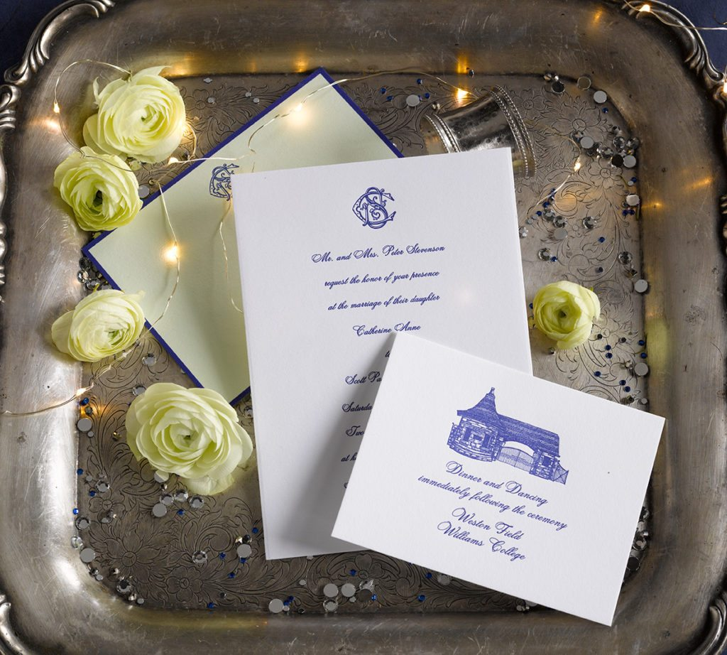 Cathy & Scott is a letterpress wedding suite set in Williamstown, MA. Call us toll-free at 1-800-995-1549 or email us at hello@pickettspress.com