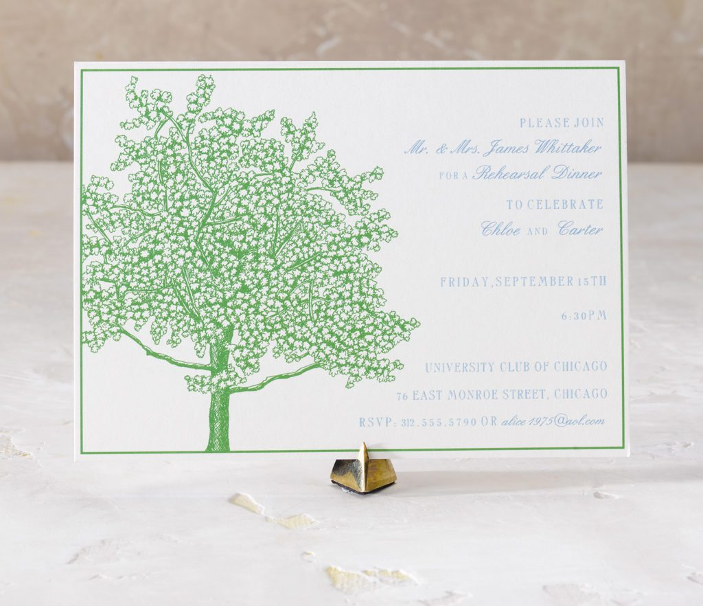 Chloe and Carter is an engraved wedding suite set in Chicago at Saint James Cathedral. Call us toll-free at 1-800-995-1549 or email us at hello@pickettspress.com