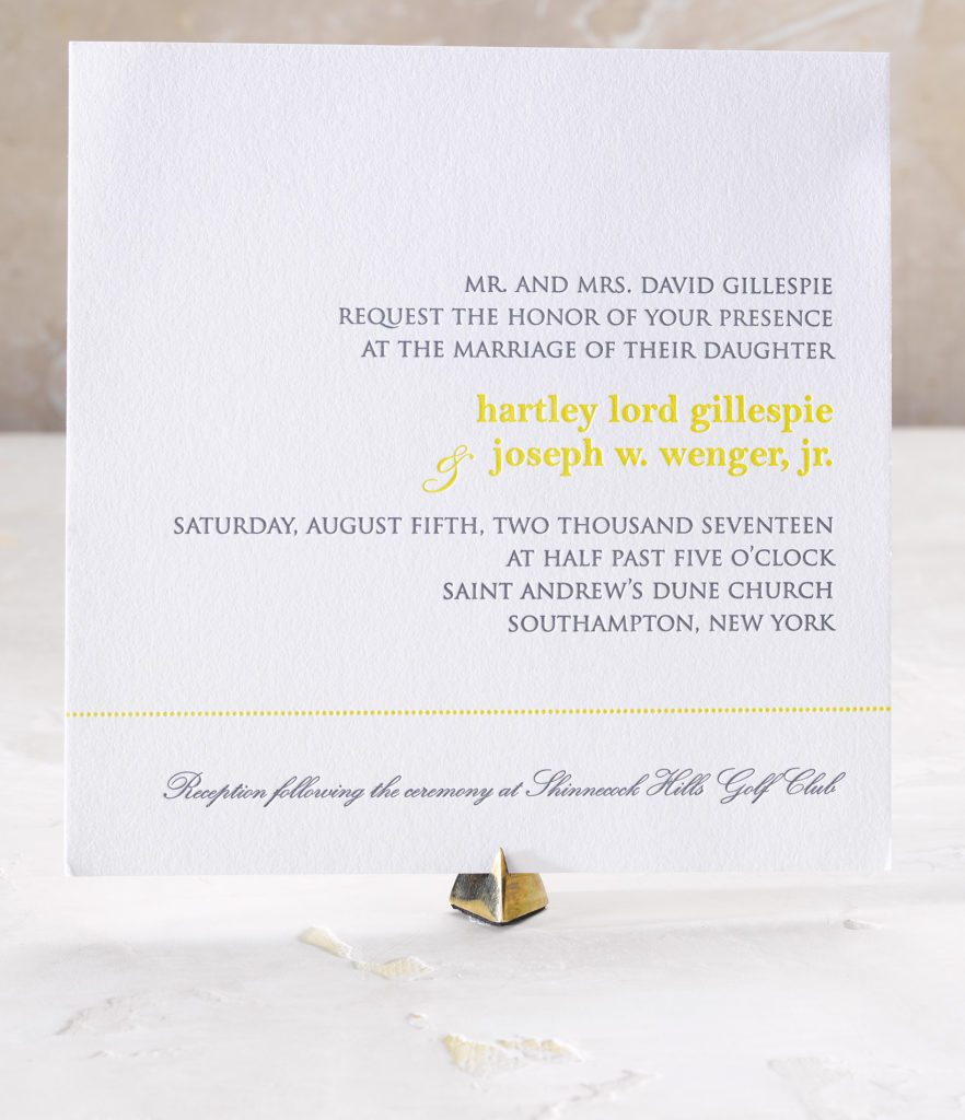 Hartley & Joe is a letterpress wedding suite set in Southampton, New York. Call us toll-free at 1-800-995-1549 or email us at hello@pickettspress.com