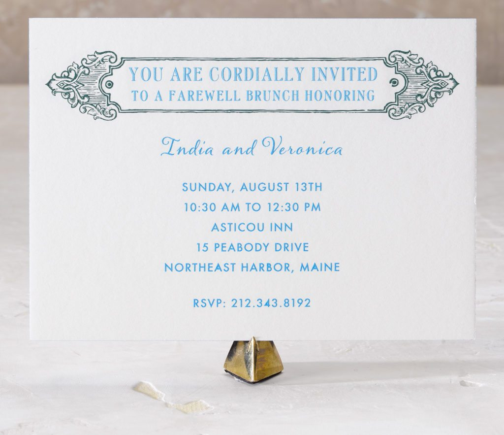 India and Veronica is an engraved wedding suite set in Northeast Harbor, Maine. Call us toll-free at 1-800-995-1549 or email us at hello@pickettspress.com