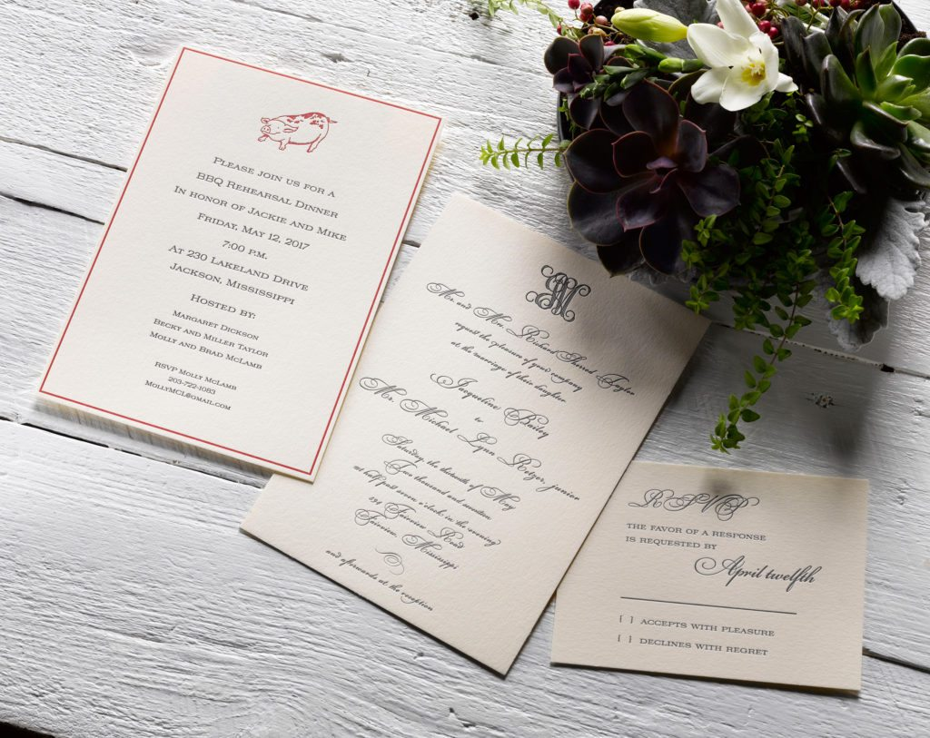 Jackie & Mike is a letterpress wedding suite set in Fairview, Mississippi. Call us toll-free at 1-800-995-1549 or email us at hello@pickettspress.com