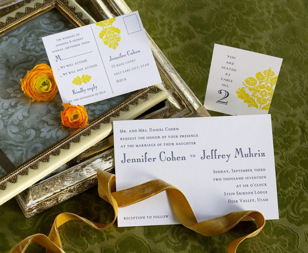 Jennifer & Jeffrey is a letterpress wedding suite set in Deer Valley, Utah. Call us toll-free at 1-800-995-1549 or email us at hello@pickettspress.com