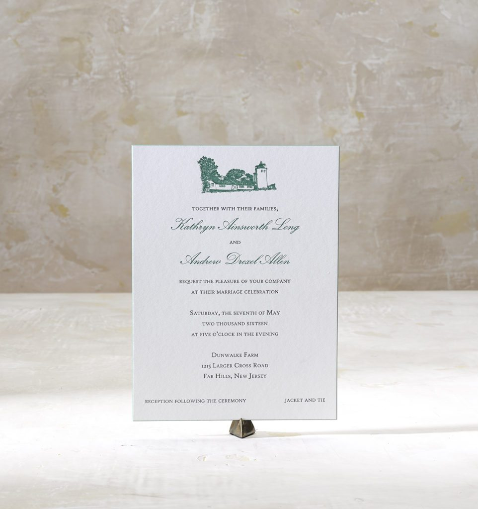 Katy & Andrew is a letterpress suite in noonmark green and dusty pink, set in New Jersey on their family farm, Dunwalke Farm. Call us toll-free at 1-800-995-1549 or email us at hello@pickettspress.com