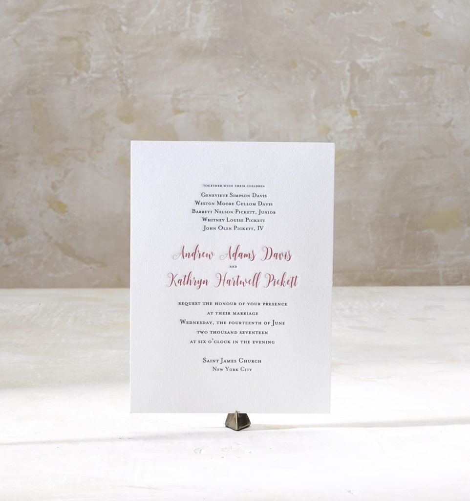 Kathryn & Andrew is an engraved suite in black and ruby red, set in New York City. Call us toll-free at 1-800-995-1549 or email us at hello@pickettspress.com