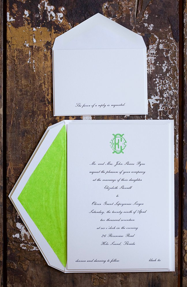 Elizabeth & Oliver is a letterpress suite in black and citrus green, set in Hobe Sound, Florida. Call us toll-free at 1-800-995-1549 or email us at hello@pickettspress.com
