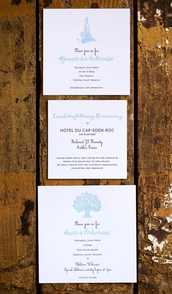 Kate & Andrew is a letterpress suite in black and custom French Blue, set in Vence, France. Call us toll-free at 1-800-995-1549 or email us at hello@pickettspress.com