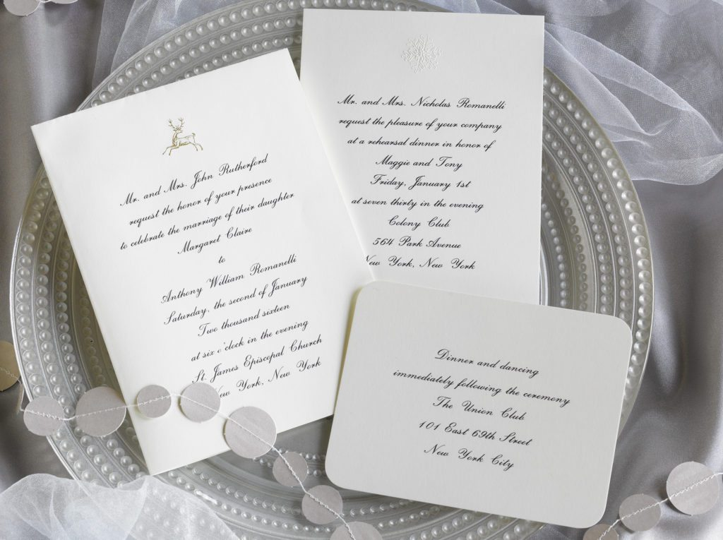 Maggie and Tony is an engraved wedding suite set in New York City. Call us toll-free at 1-800-995-1549 or email us at hello@pickettspress.com