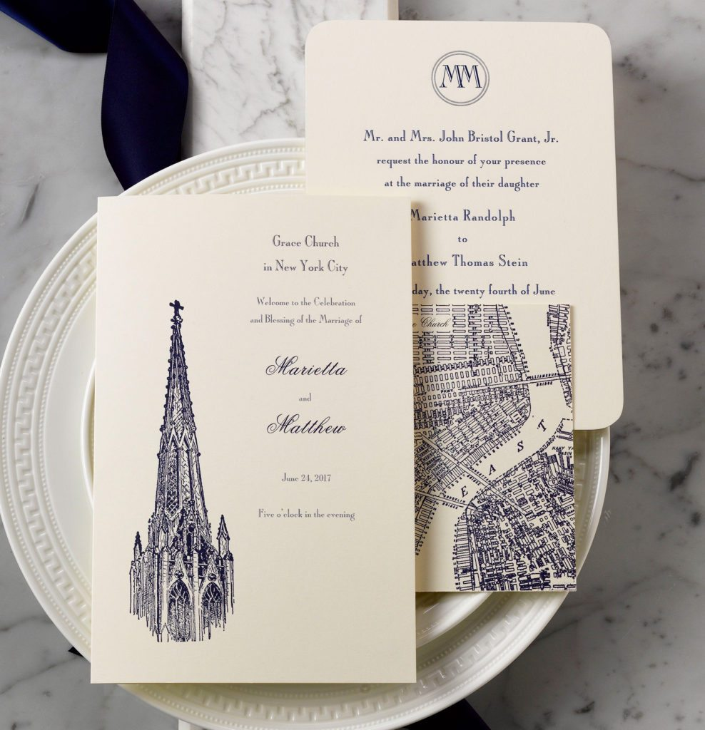 Marietta & Matt is an engraved wedding suite set in NYC. Call us toll-free at 1-800-995-1549 or email us at hello@pickettspress.com