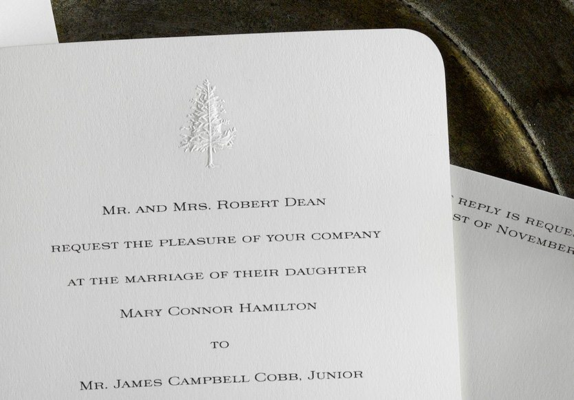 Mary & James is an engraved wedding suite set in Newport, RI. Call us toll-free at 1-800-995-1549 or email us at hello@pickettspress.com