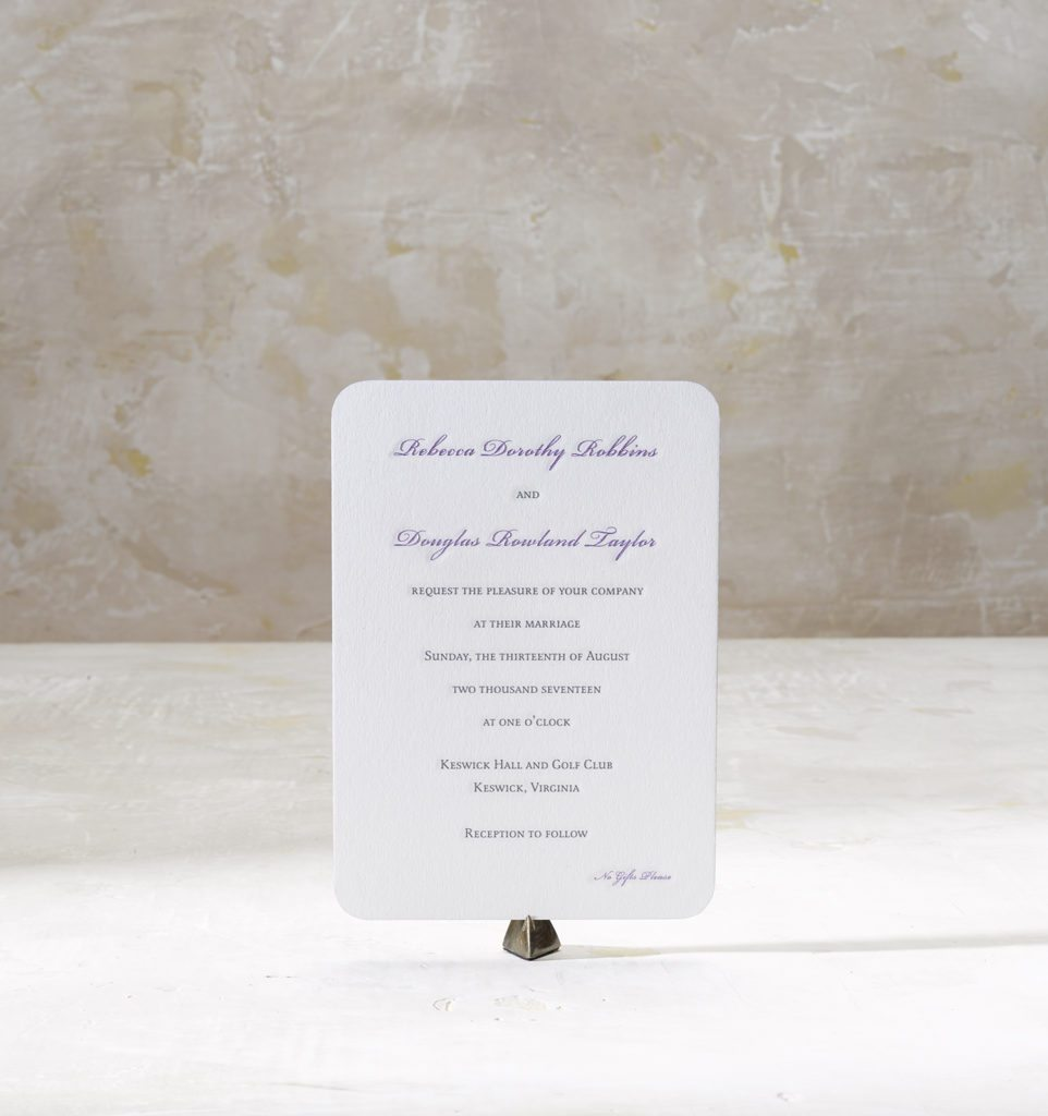 Rebecca & Douglas is an engraved suite in black and metallic purple, set in Virginia. Call us toll-free at 1-800-995-1549 or email us at hello@pickettspress.com