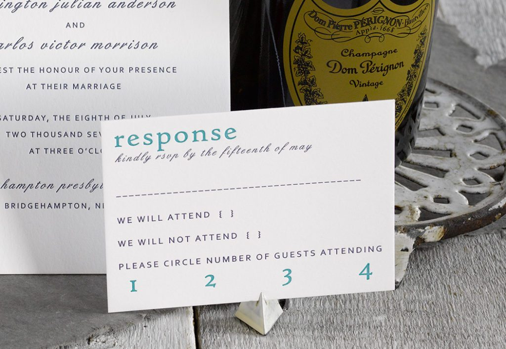 Remy & Carlos is a letterpress wedding suite set in Bridgehampton, NY. Call us toll-free at 1-800-995-1549 or email us at hello@pickettspress.com