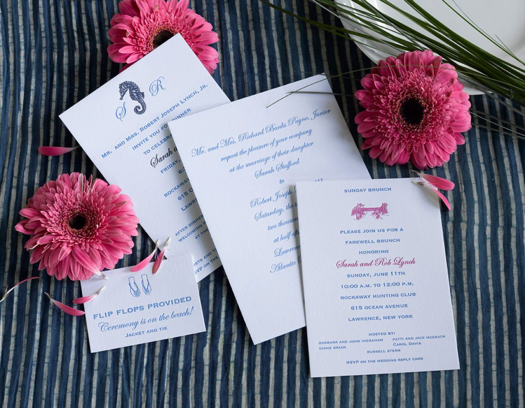 bfc3c597a3a96c Sarah   Rob is a letterpress wedding suite set in Atlantic Beach
