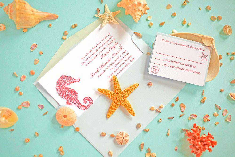 Check out these elegant coral and seahorse wedding invitations on Pickett's Press.