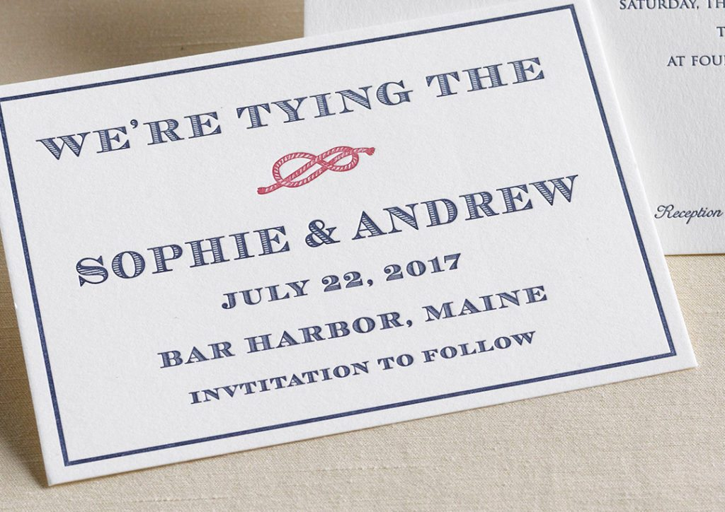 Sophie & Andrew is a letterpress wedding suite set in Bar Harbor, Maine. Call us toll-free at 1-800-995-1549 or email us at hello@pickettspress.com