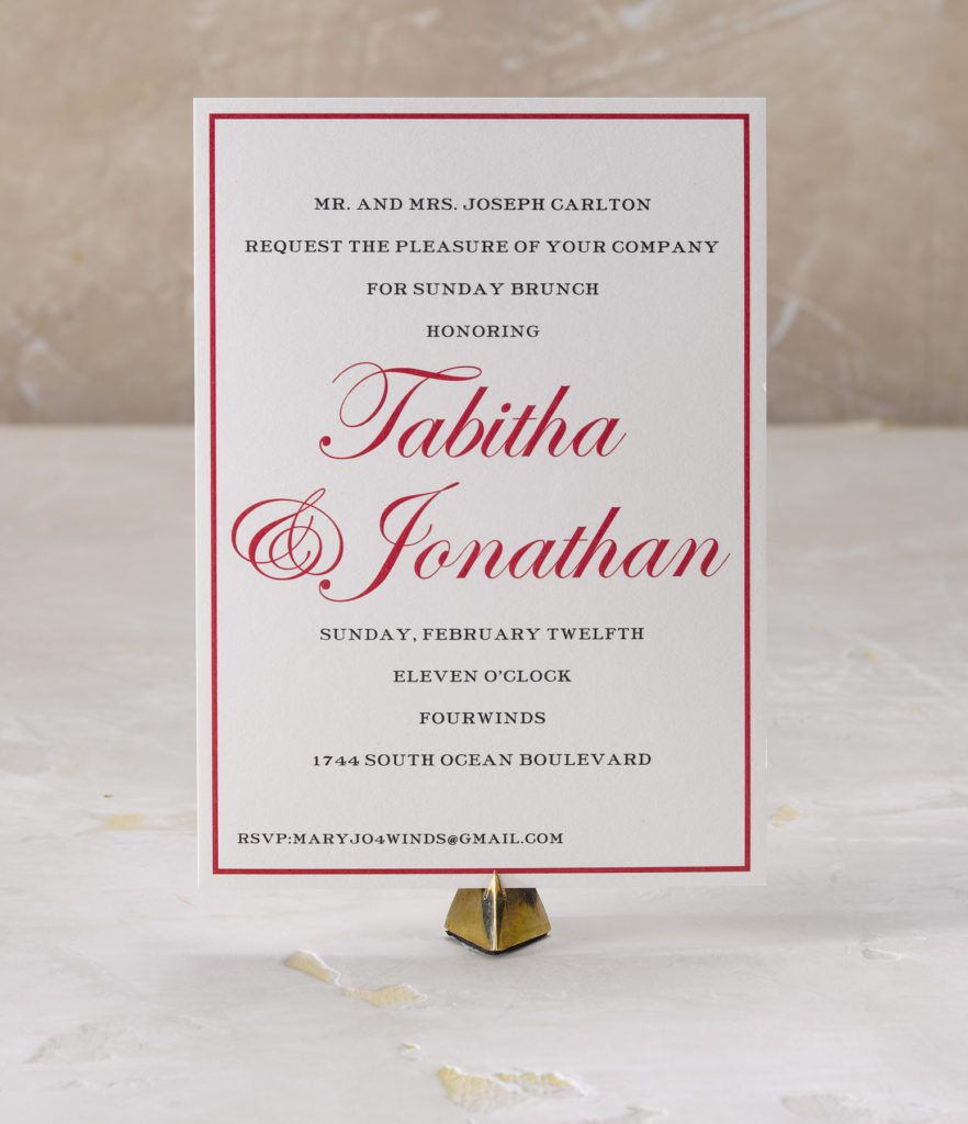 Tabitha & Jon an engraved wedding suite set in Palm Beach, FL. Call us toll-free at 1-800-995-1549 or email us at hello@pickettspress.com