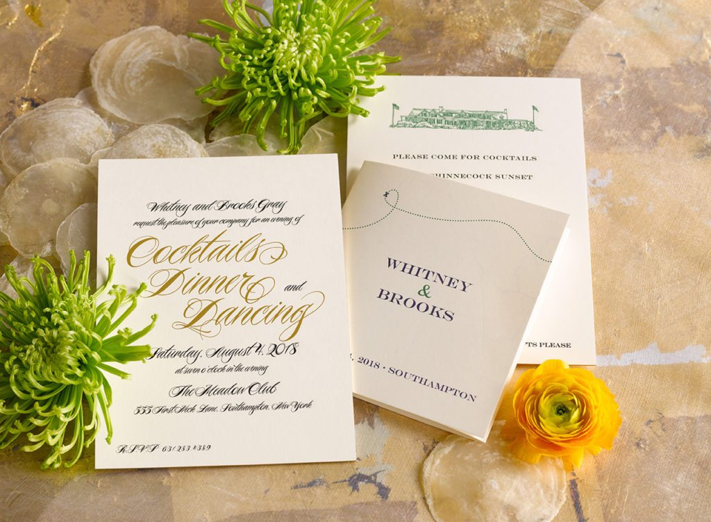 Whitney & Brooks is an engraved wedding suite set in Southampton, NY. Call us toll-free at 1-800-995-1549 or email us at hello@pickettspress.com