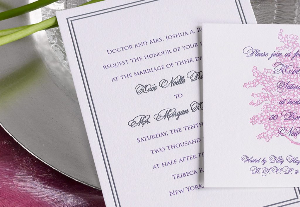 Zoe & Morgan is a letterpress wedding suite set in NYC. Call us toll-free at 1-800-995-1549 or email us at hello@pickettspress.com