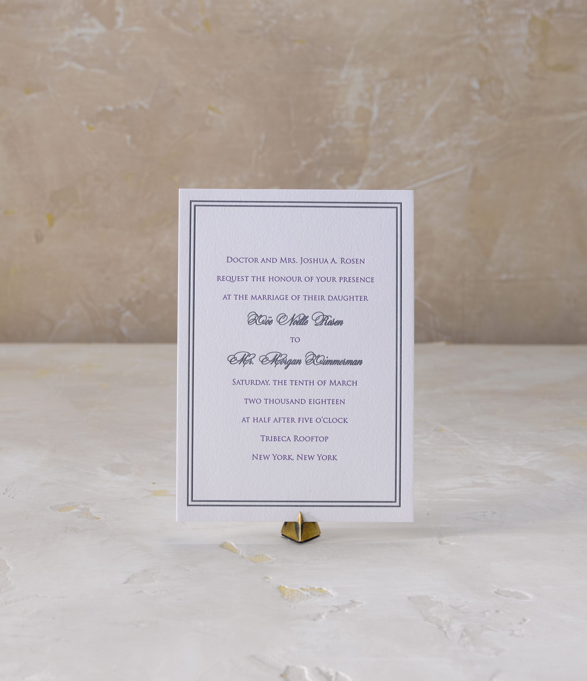 Zoe & Morgan is a letterpress wedding suite set in NYC. Would you like to be featured on #PPRealBride? Email us your photos to hello@pickettspress.com to be featured on our page! Shop here for more Pickett's Press wedding suites!