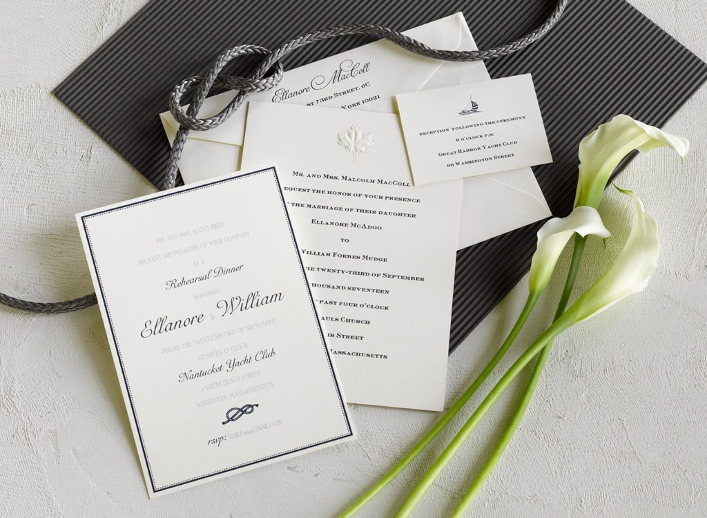 Ellie and Will is an engraved wedding suite set in Nantucket, MA. Call us toll-free at 1-800-995-1549 or email us at hello@pickettspress.com