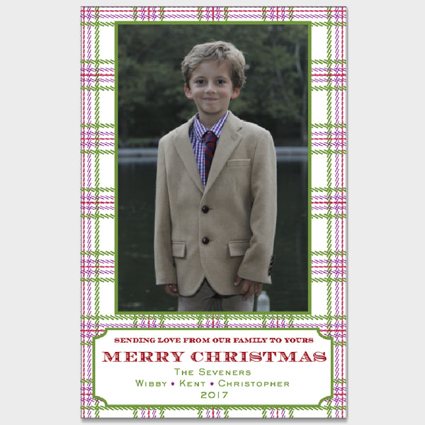 Pink Plaid Holiday Card