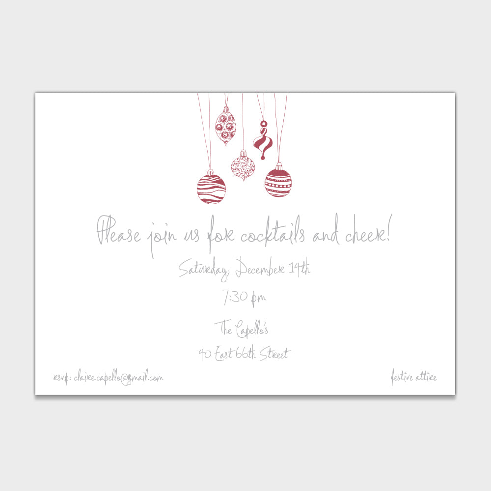 Ornaments Silver Invitation