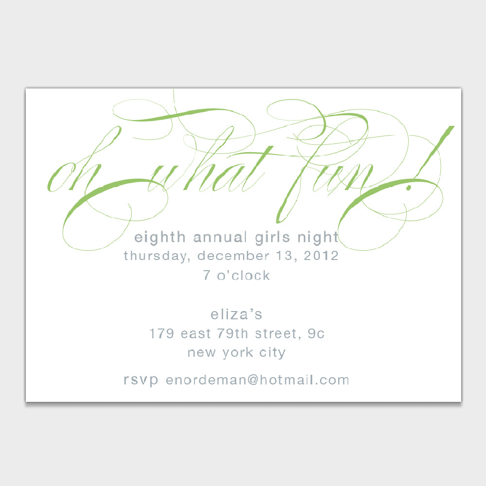 What Fun Green Invitation