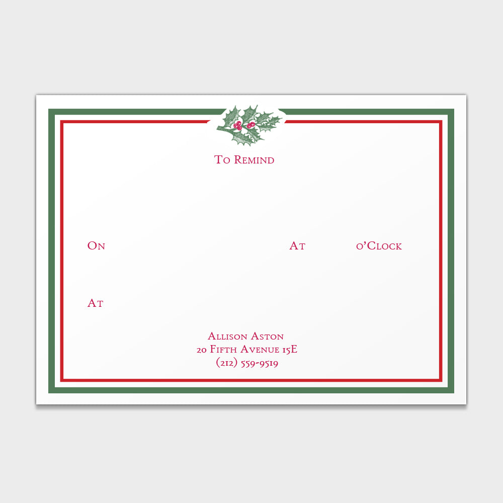 "Holly ""To Remind"" Note Cards"